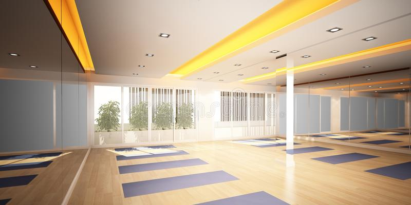 stanza di yoga, interior design 3d illustrazione di stock