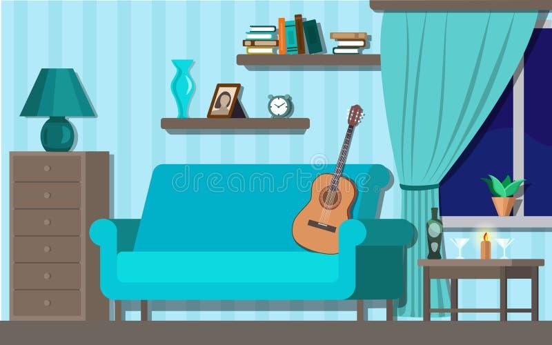 Stanza fornente dell'interno nel colore blu con l'illustrazione di vettore della chitarra royalty illustrazione gratis
