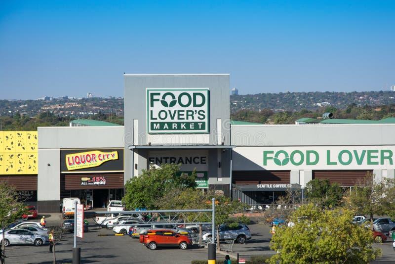 Stanza frontale di negozio del mercato degli amanti dell'alimento in Roodepoort, Johannesburg fotografia stock