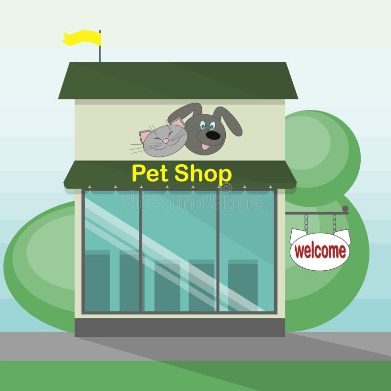 Stanza frontale di negozio del negozio di animali illustrazione di stock