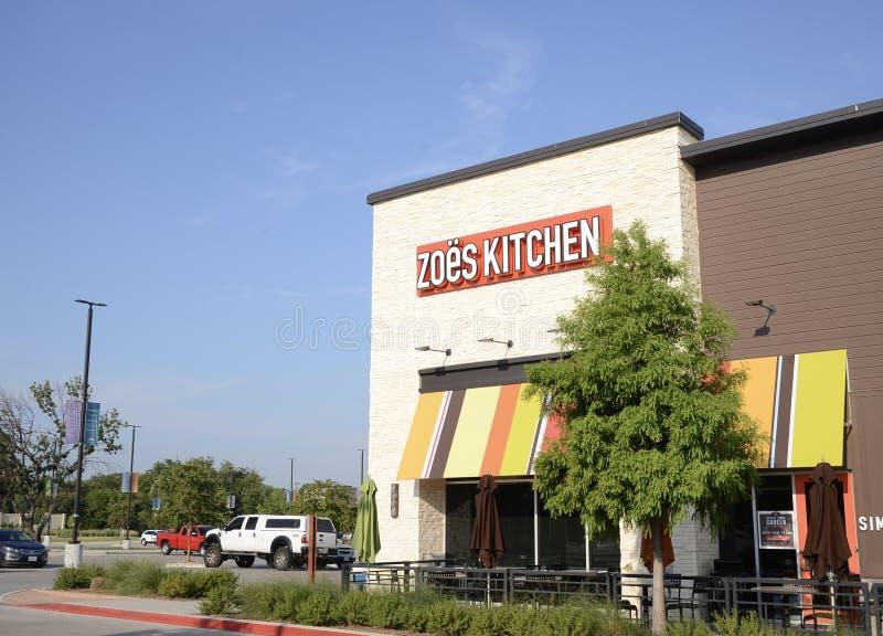 Stanza frontale di negozio della cucina di Zoes, Fort Worth, il Texas immagini stock