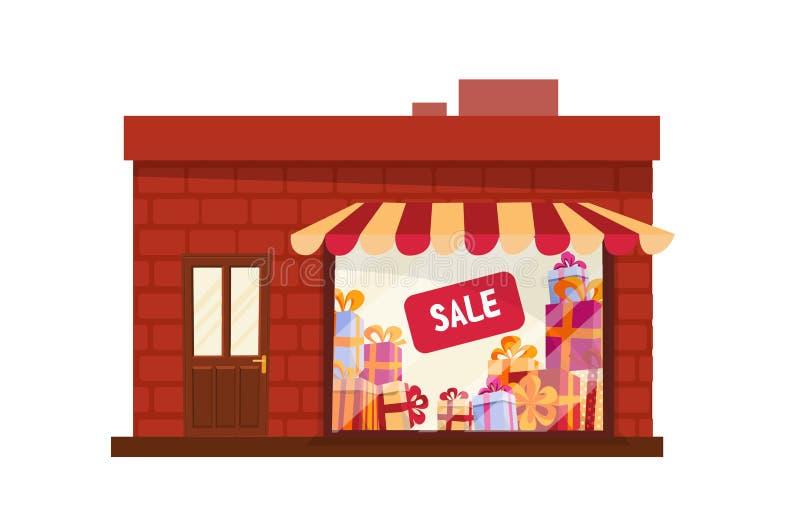Stanza frontale di negozio, magazzino, vista frontale della facciata Stanza frontale di negozio piana del fumetto dell'illustrazi illustrazione di stock