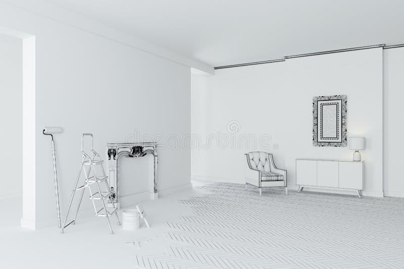 stanza interna bianca in bianco 3d illustrazione di stock