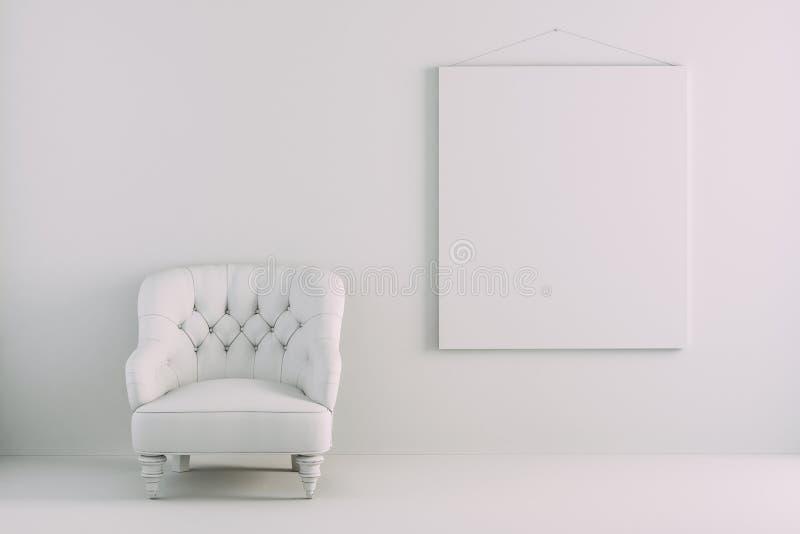stanza interna 3d con la poltrona ed il manifesto in bianco illustrazione di stock