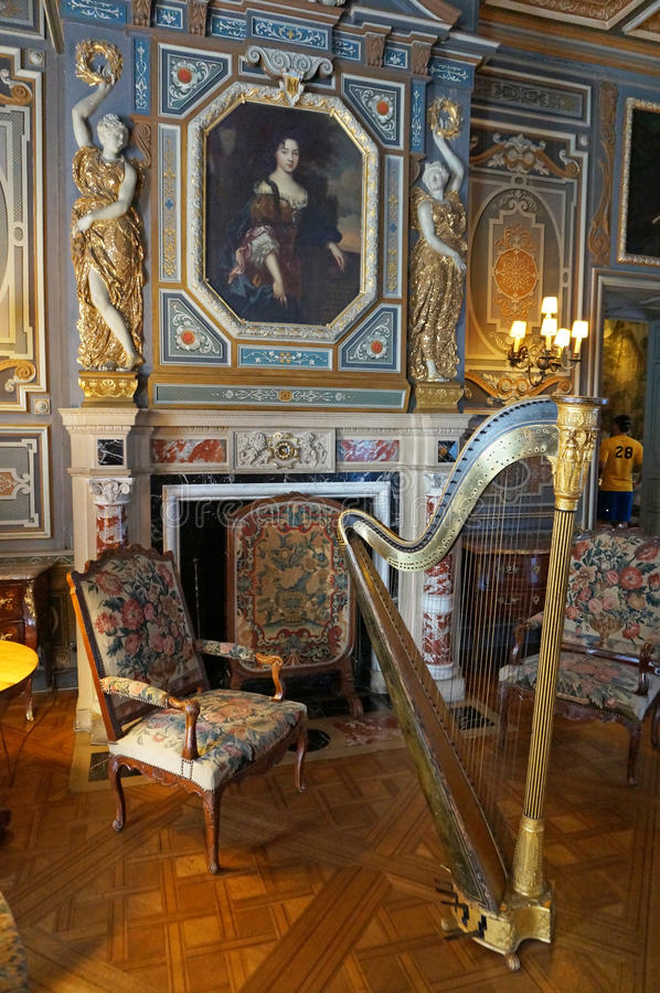 Stanza interna del castello del castello di Cheverny fotografia stock libera da diritti