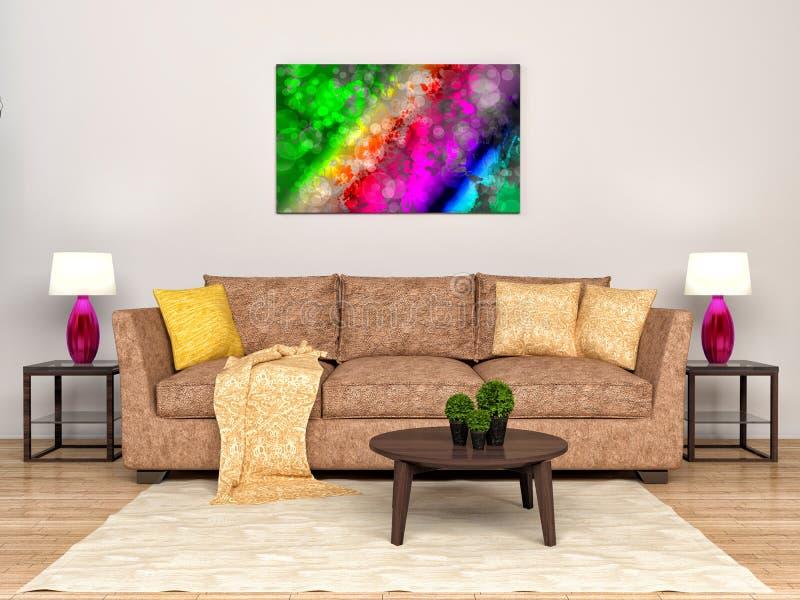 Stanza interna moderna con il sofà e l'immagine illustrazione 3D royalty illustrazione gratis