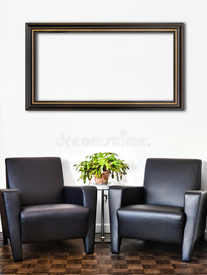 Stanza interna moderna e parete bianca immagini stock libere da diritti