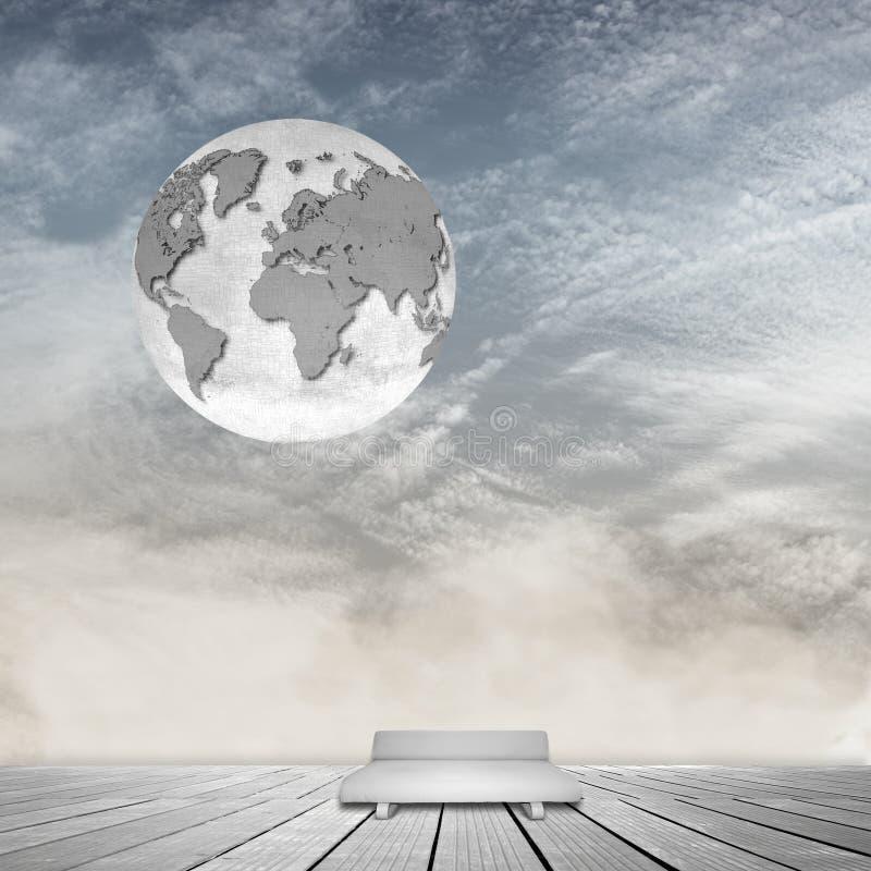 Stanza interna surreale con il cielo nuvoloso, il sofà grigio ed il globo del mondo illustrazione vettoriale