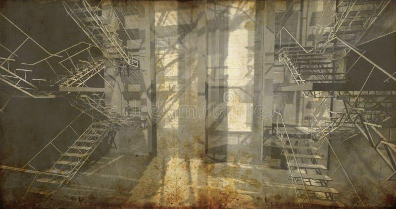 Stanza. Interno industriale moderno, scale, spazio pulito nel industr fotografia stock libera da diritti