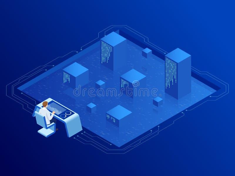 Stanza isometrica del server in centro dati Amministratore Monitors Work di intelligenza artificiale Ingegneri professionisti del royalty illustrazione gratis