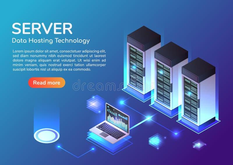 Stanza isometrica del server dell'insegna di web ed ospitare tecnologia di stoccaggio illustrazione di stock