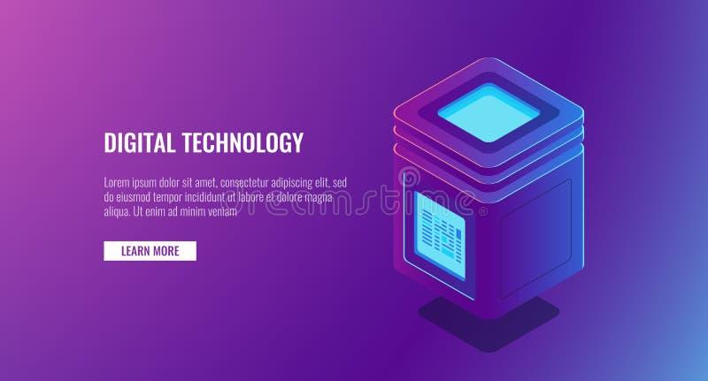 Stanza isometrica del server di vettore, concetto personale di protezione dei dati, grande elaborazione dei dati, icona della bas illustrazione di stock