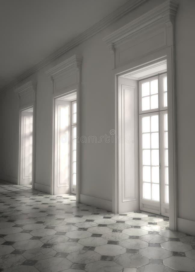 Stanza luminosa vuota con le finestre enormi rappresentazione 3d illustrazione di stock