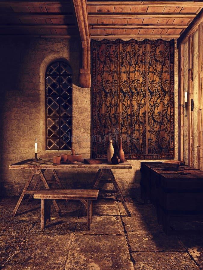 Stanza medievale con una tavola e un petto di legno illustrazione vettoriale