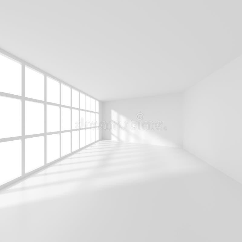 Stanza moderna bianca con la finestra Interior design dell'ufficio illustrazione vettoriale