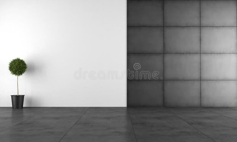 Stanza moderna in bianco e nero illustrazione di stock