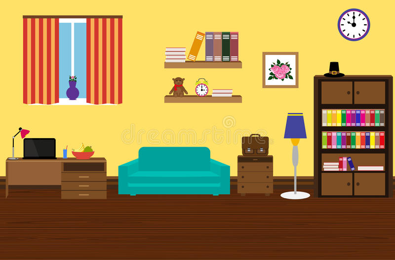 Stanza moderna ed alla moda interna con un sofà, guardaroba, scrittorio illustrazione vettoriale