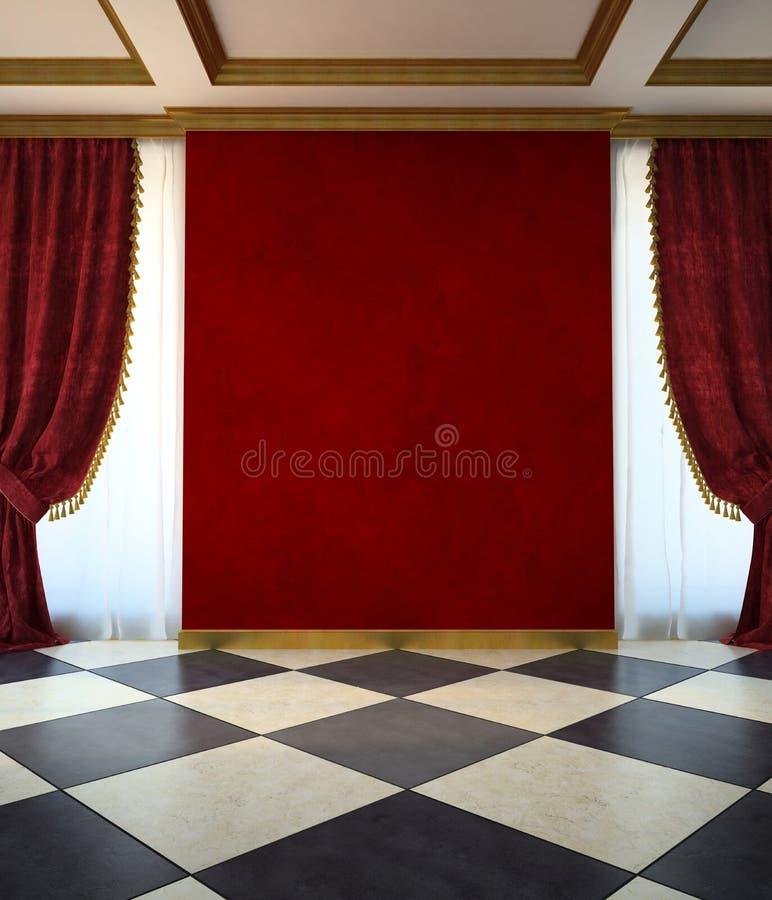 Stanza non ammobiliata rossa nello stile classico illustrazione di stock