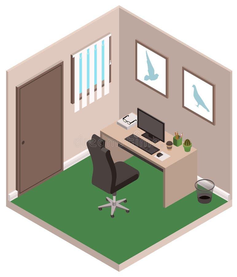 Stanza personale dell'ufficio privato di studio Computer, scrittorio e sedia illustrazione vettoriale