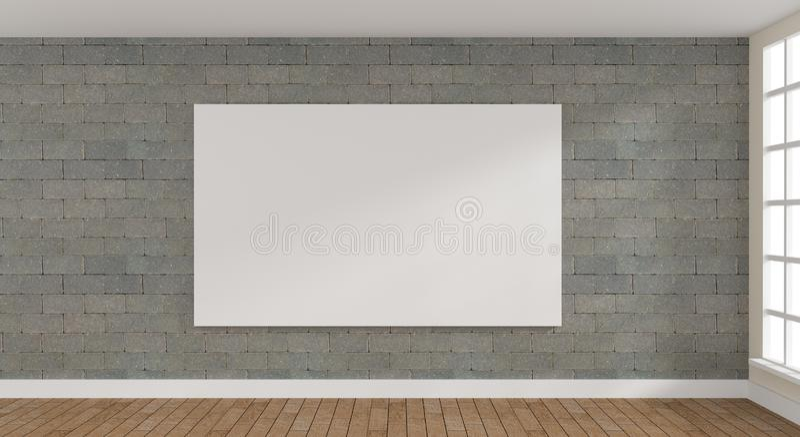 Stanza puristic moderna con un manifesto illustrazione di stock