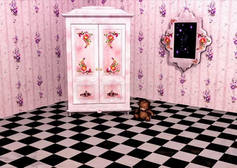 Stanza rosa con un guardaroba illustrazione di stock