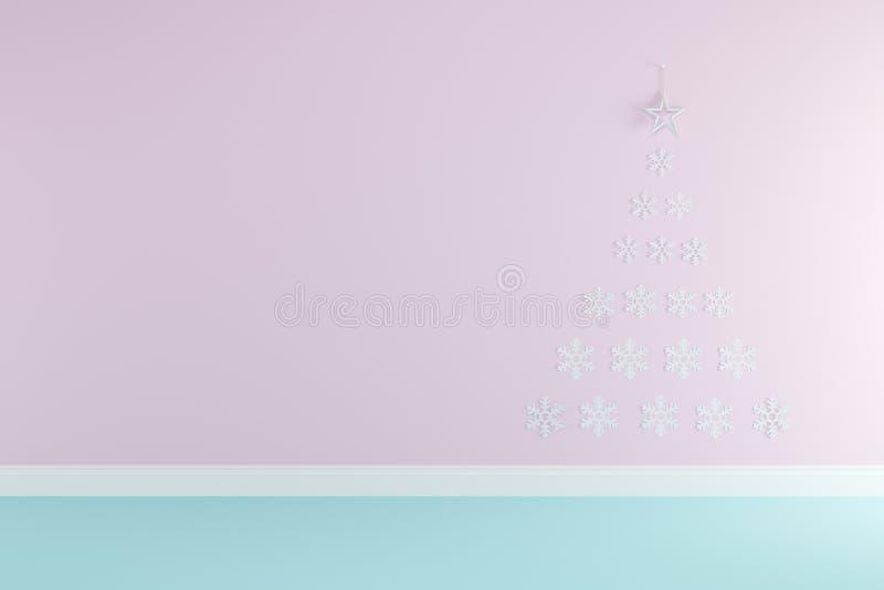 Stanza rosa di concetto di Natale e blu pastello interna con la stella e la carta da parati dei fiocchi di neve per lo spazio del illustrazione di stock