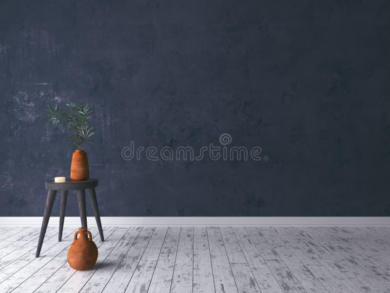 Stanza rustica nera vuota con il vecchio panchetto fotografia stock libera da diritti