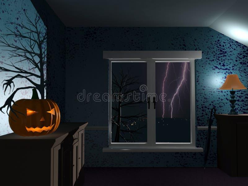 Notte piovosa di Halloween royalty illustrazione gratis