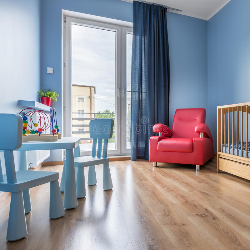 Stanza semplice del bambino blu fotografia stock libera da diritti