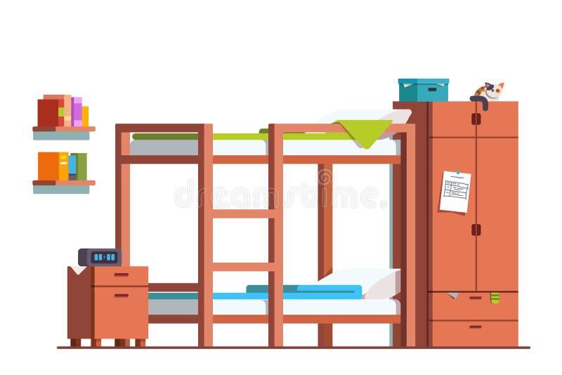Stanza teenager del dormitorio con il letto ed il guardaroba di cuccetta illustrazione di stock