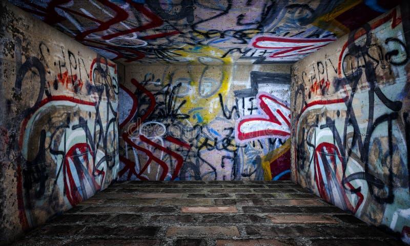 Stanza urbana dei graffiti della fase immagine stock