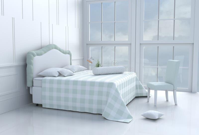 Stanza verde del letto il giorno felice immagine stock