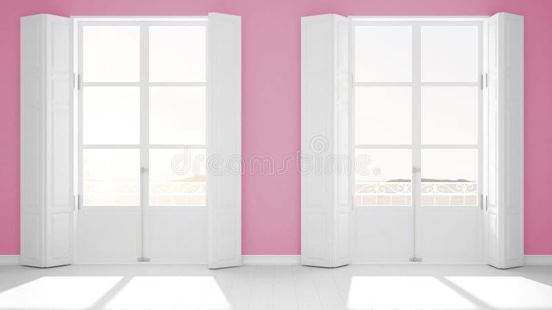Stanza vuota alla moda con il primo piano panoramico delle finestre, otturatori classici, balcone classico Paesaggio del mare, ro fotografia stock