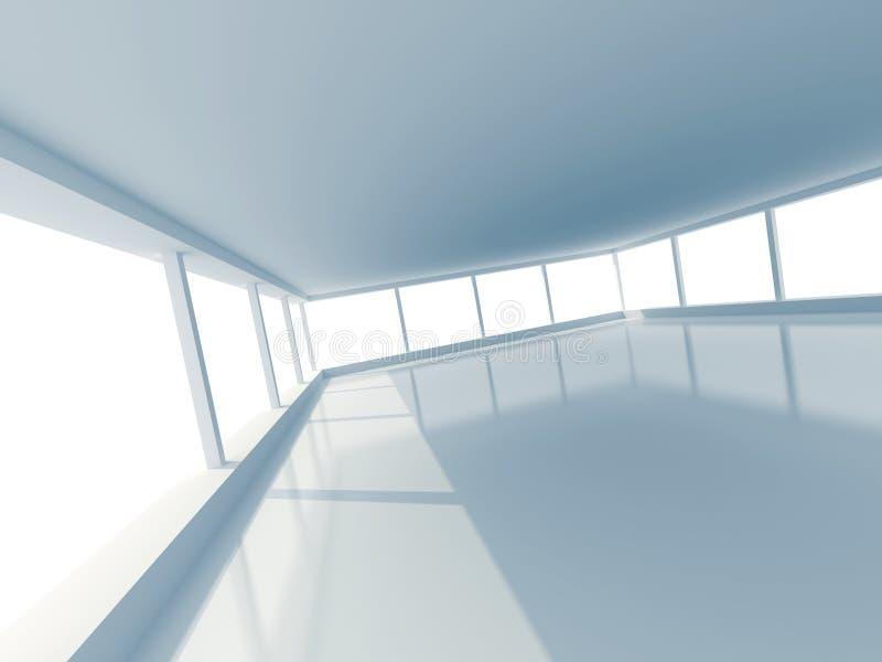 Stanza vuota bianca astratta con grande Windows royalty illustrazione gratis