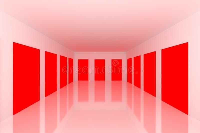 Stanza vuota bianca con il portello rosso illustrazione vettoriale