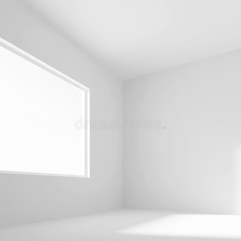 Stanza vuota bianca con la finestra rappresentazione 3d dell'ufficio minimo Int illustrazione vettoriale