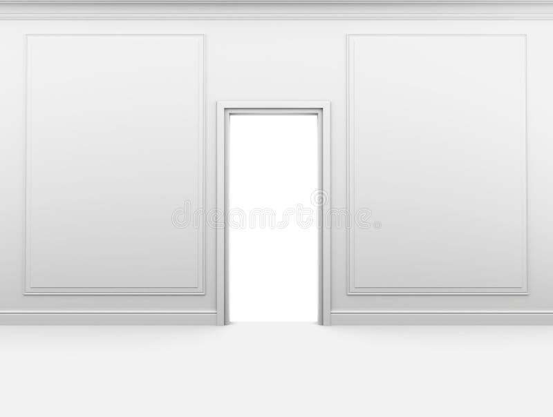 Stanza vuota bianca con un a porta chiusa e una struttura sopra illustrazione di stock