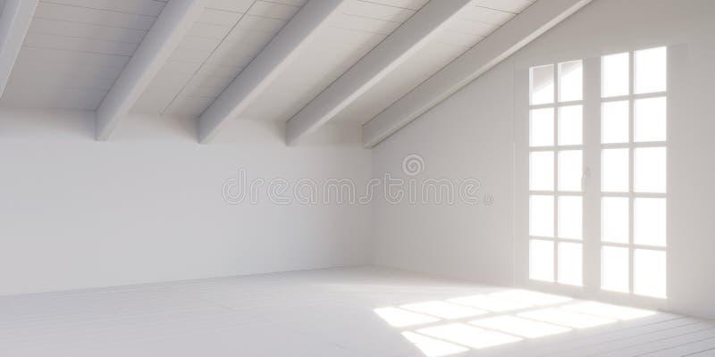 Stanza vuota bianca in soffitta illustrazione di stock