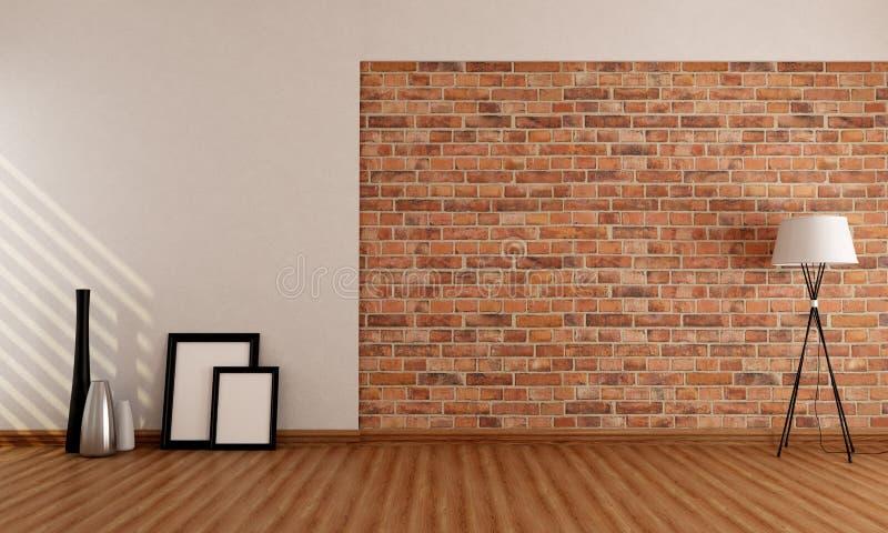 Stanza vuota con il muro di mattoni illustrazione vettoriale