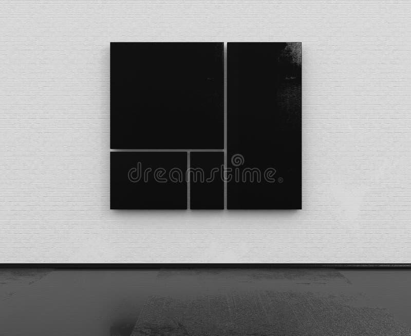 Stanza vuota con il muro di mattoni bianco e le strutture nere illustrazione di stock