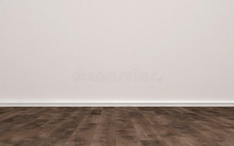 Stanza vuota con il pavimento beige di legno e della parete royalty illustrazione gratis