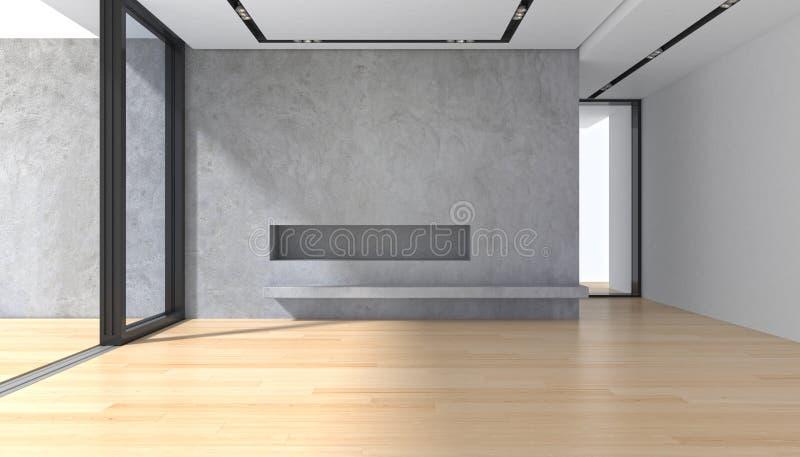 Stanza vuota con il pavimento di parquet del muro di cemento e la finestra panoramica fotografia stock libera da diritti
