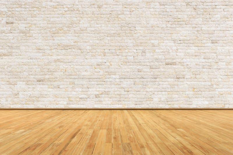 Stanza vuota con la parete ed il pavimento di legno fotografie stock