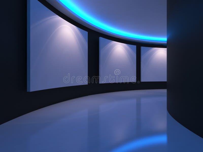 Stanza vuota con tela bianca su una luce blu della parete della curva nel g royalty illustrazione gratis