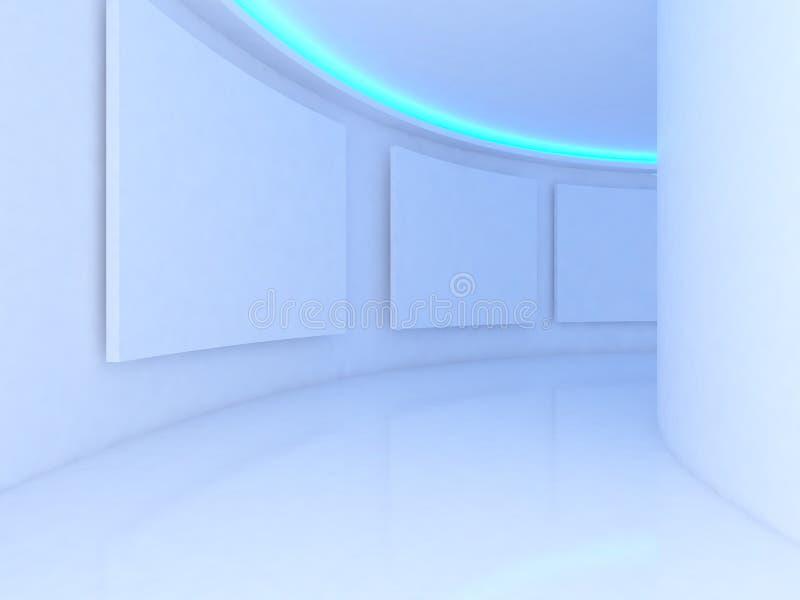 Stanza vuota con tela bianca su una luce blu della parete della curva nel g illustrazione vettoriale