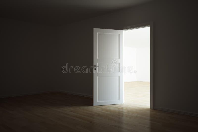Stanza vuota con una porta aperta royalty illustrazione gratis