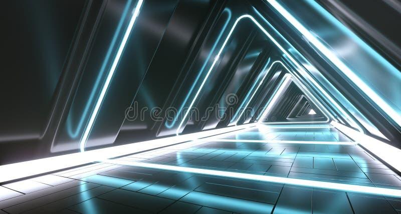 Stanza vuota del corridoio di fantascienza futuristica scura del triangolo con Li al neon illustrazione vettoriale