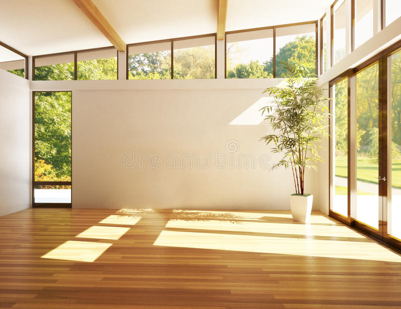 Stanza vuota dell'affare, o residenza con il fondo di legni illustrazione vettoriale