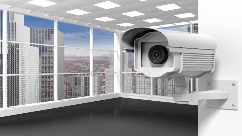Stanza vuota dell'ufficio con la videosorveglianza illustrazione di stock