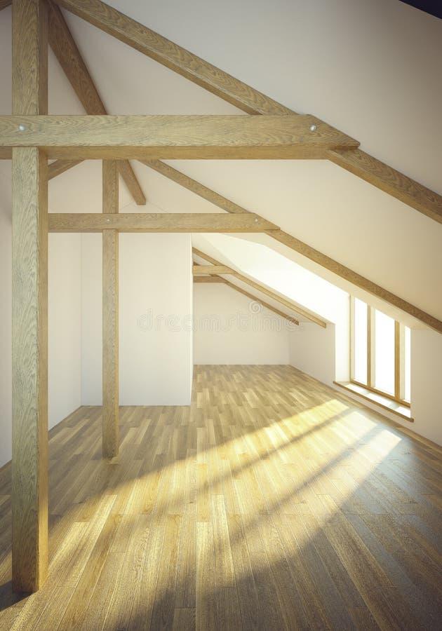 Stanza vuota della mansarda con le finestre illustrazione - Finestre mansarda prezzi ...